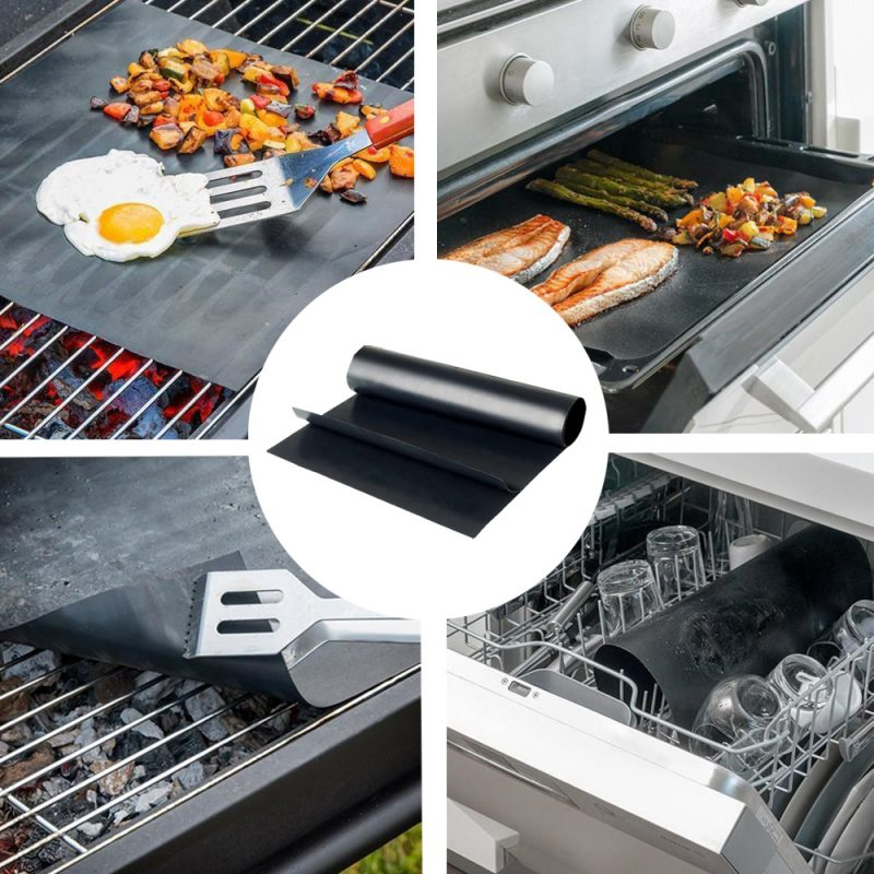 Non-stick BBQ Grill Mat - Upgraded Ultra Thick Platinum Reusable Barbecue Mat for Outdoor Grill - Easy to Clean1