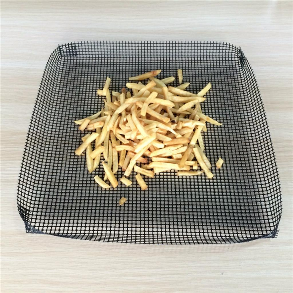 on-stick Grill Mesh Basket – Reusable Barbecue Grilling Tray for Baking, Pizza, Heat-Resistant PTFE Crispy Basket