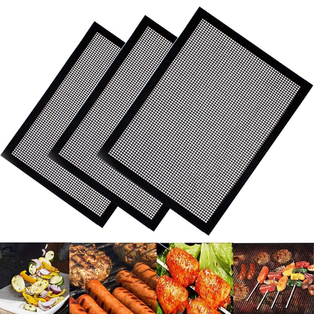 BBQ Grill Mesh Mat – Reusable Barbecue Grill Mesh Mat for Cooking, Reinforced Heat-Resistant PTFE Grilling Accessories