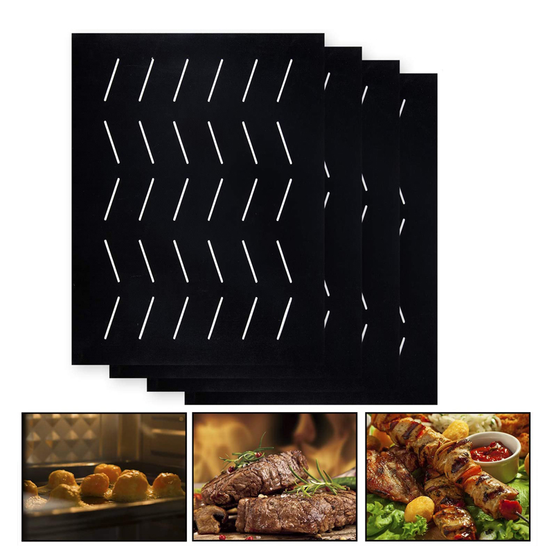 Upgraded Barbecue Grill Mats with Holes - Non-stick Barbecue Grill Sheet Liners Teflon Grilling Mat for Use on Gas, Charcoal and Electric Grills
