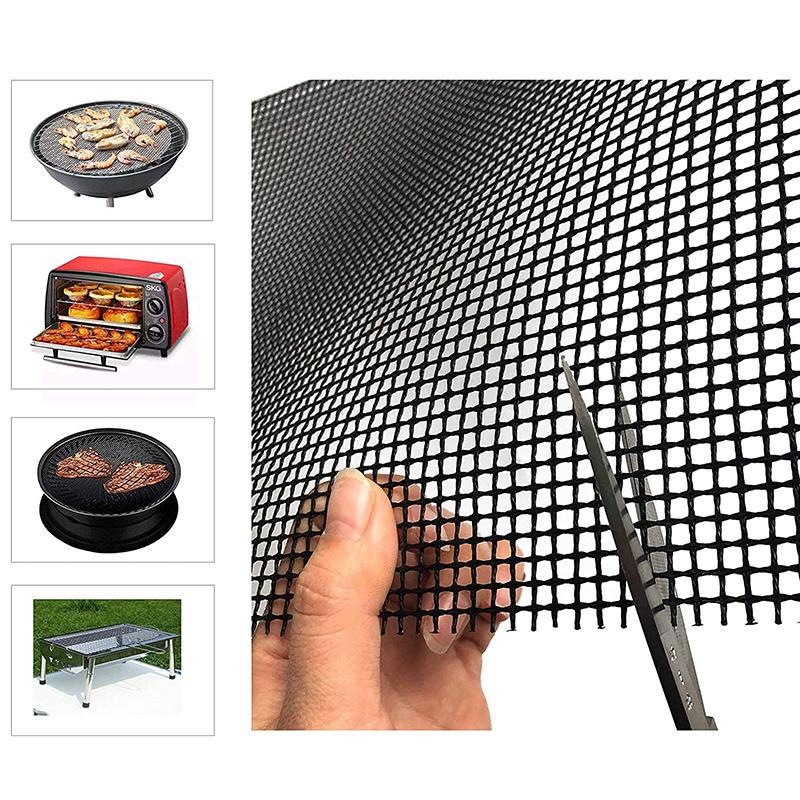 Non-stick BBQ Grill Mesh Mat – Barbecue Grilling Mesh Sheet Liners, Reusable PTFE-Fiberglass Grill Mesh Mat