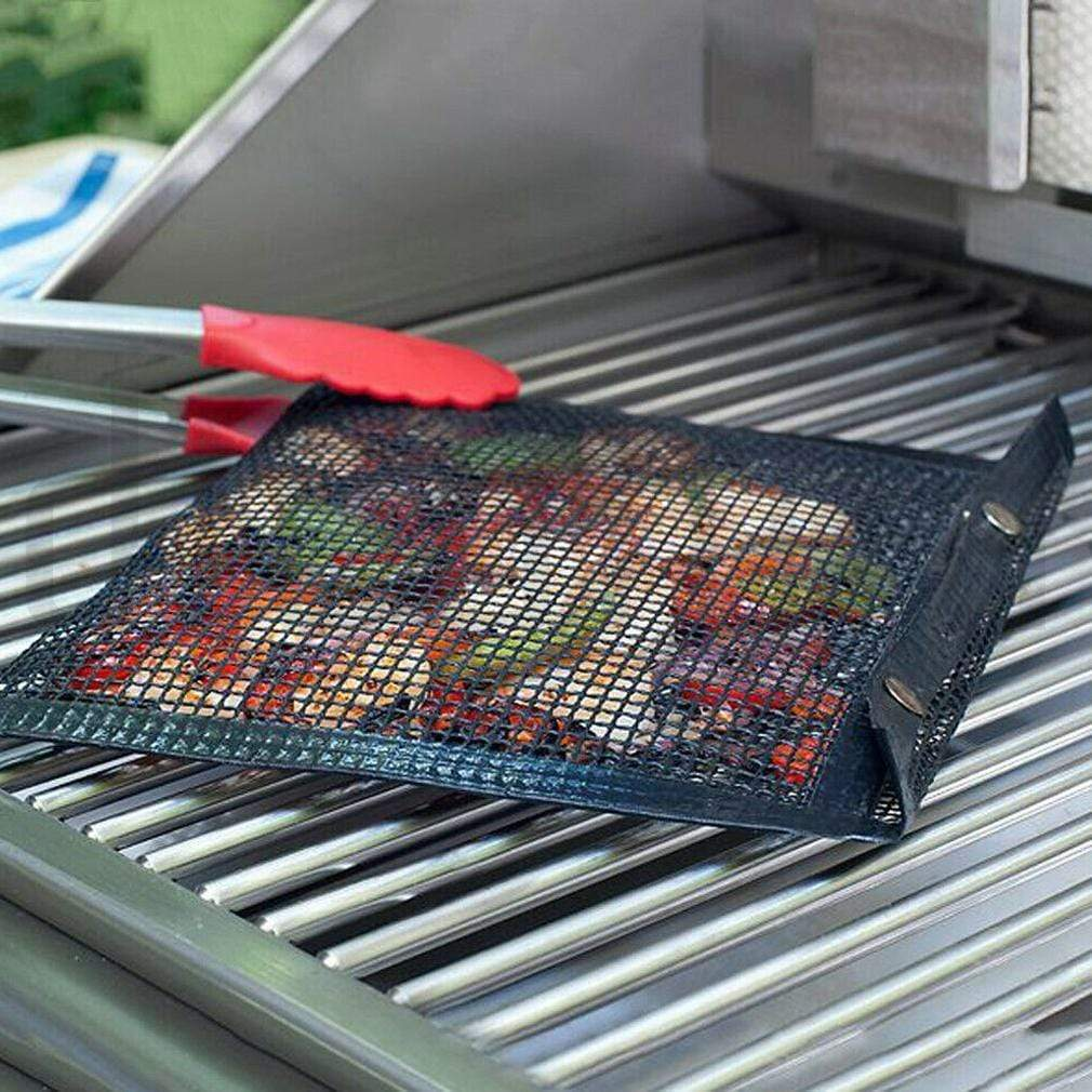 Non-stick BBQ Mesh Grilling Bag - Reusable PTFE Baking Grilling Pouch for Outdoor Gas, Charcoal Grill, Easy to Clean Mesh Bag