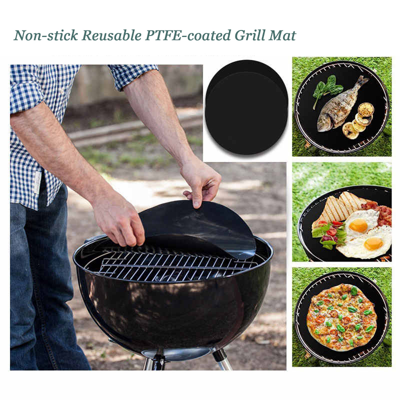 Non-stick Round Grill Mat - Reusable PTFE BBQ Grill Mat, Pizza Sheet for Oven, Microwave, Electric Charcoal Gas Grill