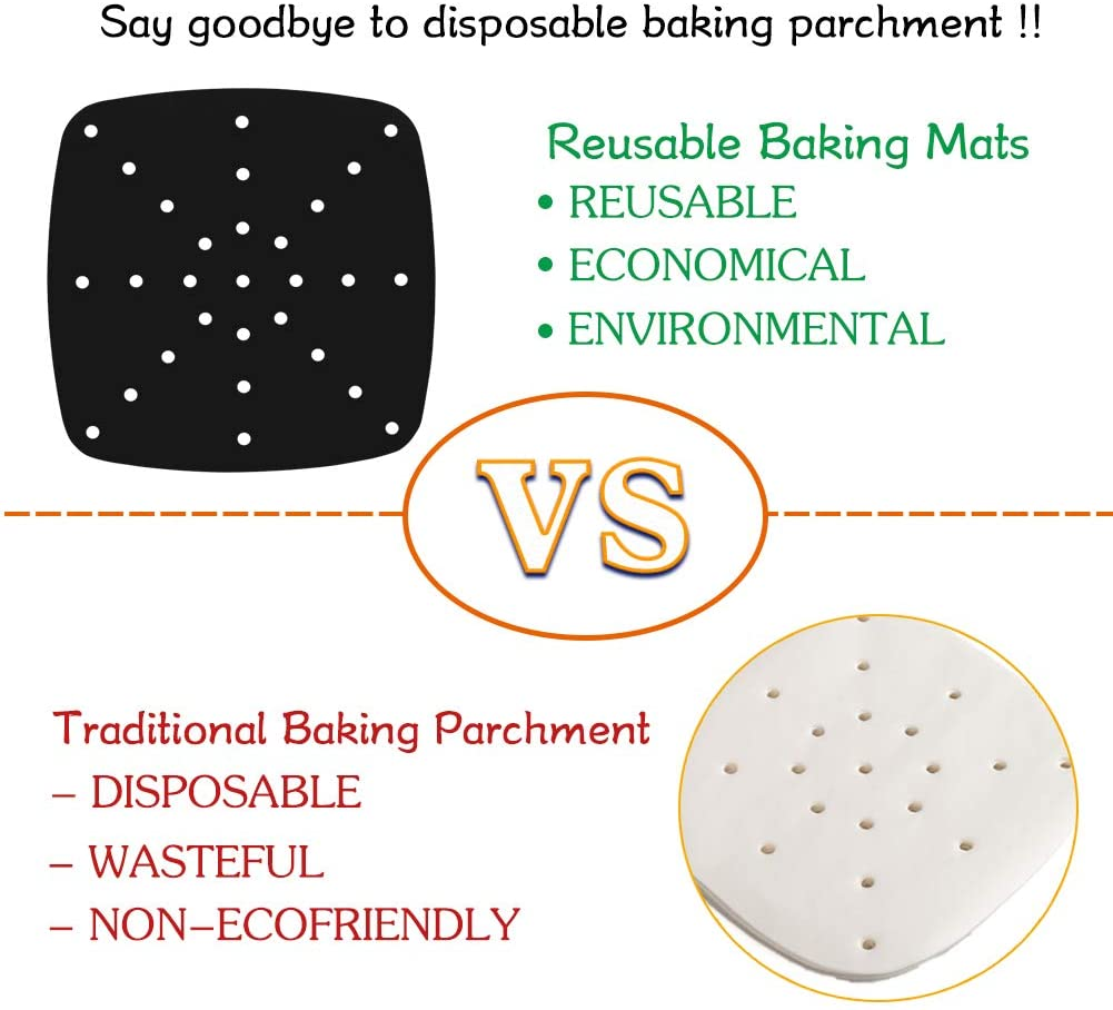 Reusable Square Air Fryer Liners - Non-stick Fiberglass Fabric PTFE coated Air Fryer Mats, Kitchen Accessories for Steamer